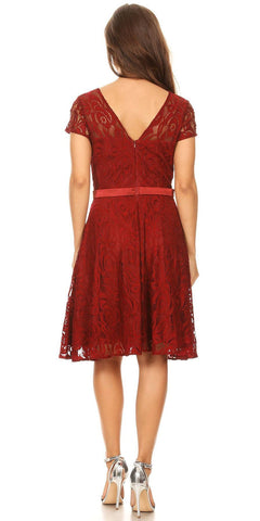 Celavie 6322 - Short Sleeve Lace Knee Length Dress Burgundy Back