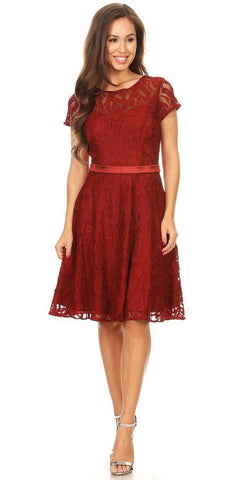 Celavie 6322 - Short Sleeve Lace Knee Length Dress Burgundy