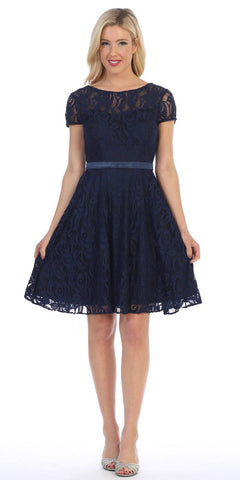 Celavie 6322 - Short Sleeve Lace Knee Length Dress Navy Blue