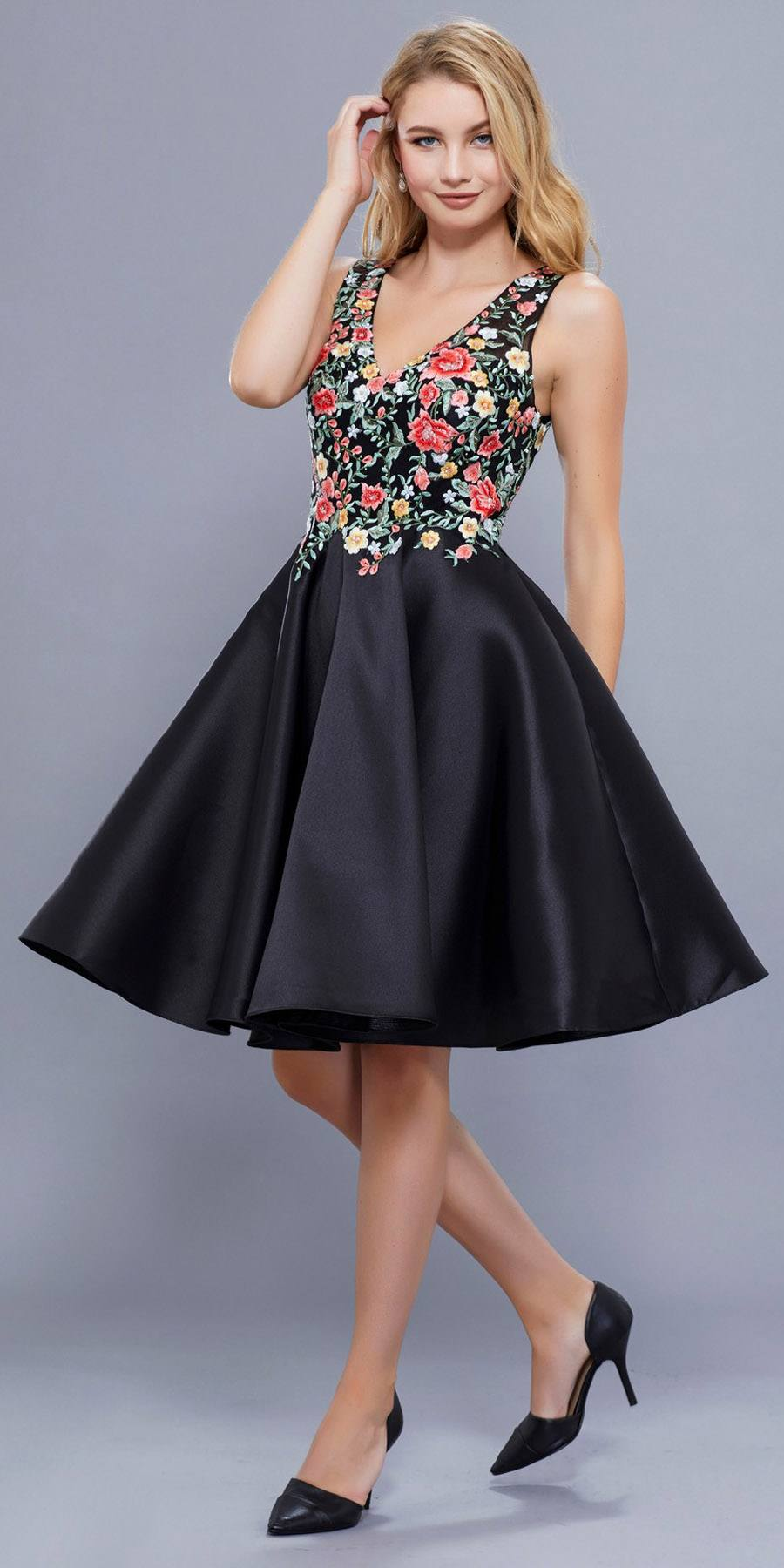 Knee Length Prom Dress A-Line Black-Floral Embroidered Bodice ...