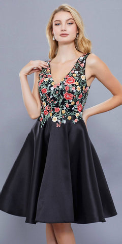 Knee Length Prom Dress A-Line Floral Embroidered Bodice