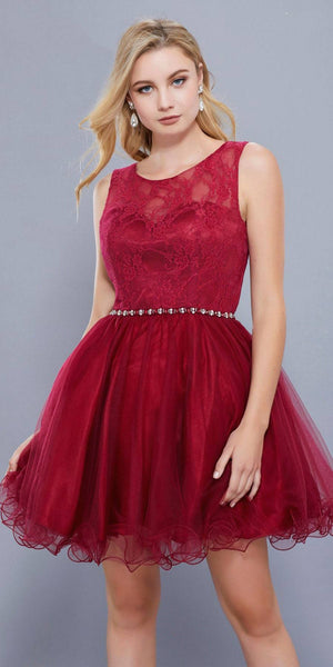 Burgundy Lace Bodice Homecoming Short Dress Embellished Waist