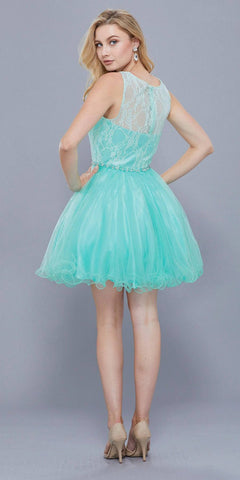 Mint Green Lace Bodice Homecoming Short Dress Embellished Waist