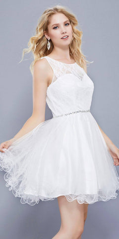 White Lace Bodice Homecoming Short Dress Embellished Waist