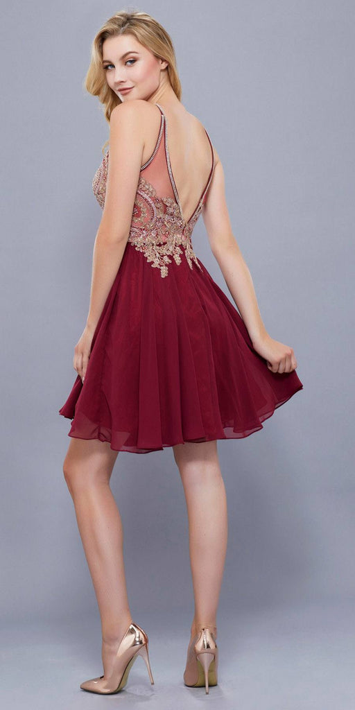 Burgundy Appliqued Top Keyhole Neckline Homecoming Short Dress