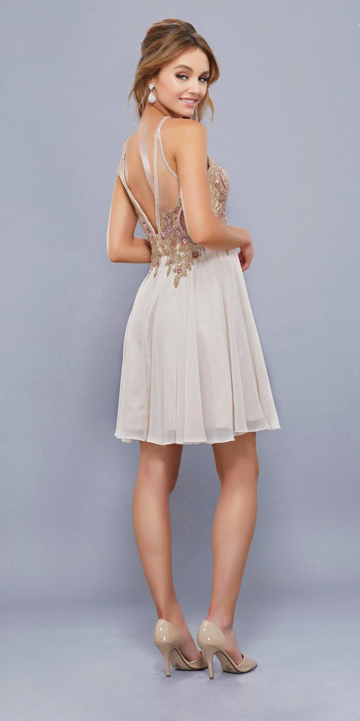 Gold Appliqued Top Keyhole Neckline Homecoming Short Dress