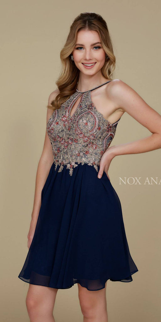 Nox Anabel 6234 Navy Blue Homecoming Short Dress Halter A-Line