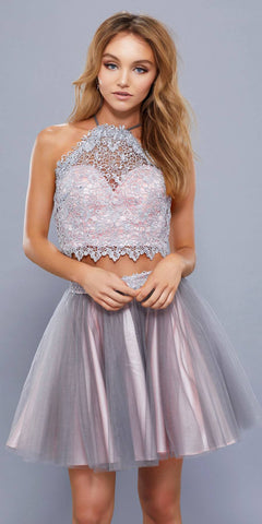 Gray-Pink Two Piece Short Prom Dress Illusion Halter Top
