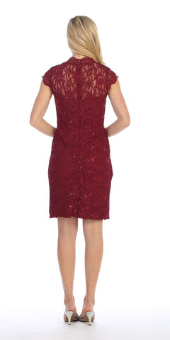 Celavie 6326 Burgundy Short Sleeves Lace Cocktail Dress with Keyhole Neckline Back View