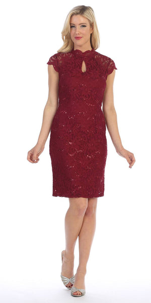 Burgundy Short Sleeves Lace Cocktail Dress with Keyhole Neckline