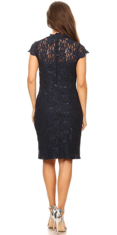 Navy Blue Short Sleeves Lace Cocktail Dress with Keyhole Neckline