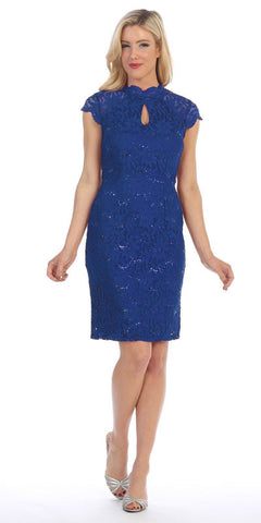 Celavie 6326 Royal Blue Short Sleeves Lace Cocktail Dress with Keyhole Neckline