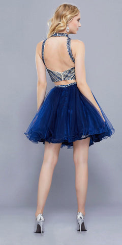 High Neckline Beaded Crop Top Two Piece Homecoming Short Dress Navy Blue