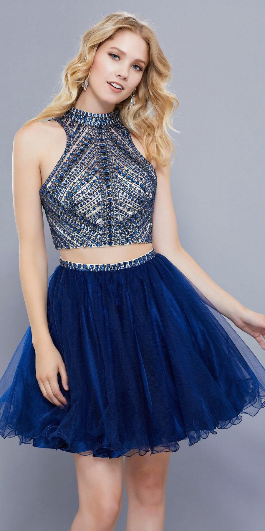 025cd2d69ef High Neckline Beaded Crop Top Two Piece Homecoming Short Dress Navy Blue.  Tap to expand