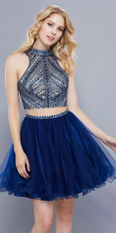 Baby Blue Sleeveless A-line Prom Gown Illusion Beaded Neckline