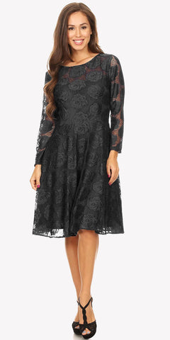 Scoop Neckline Long Sleeve A-Line Wedding Guest Short Dress Black