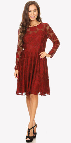 Scoop Neckline Long Sleeve A-Line Wedding Guest Short Dress Burgundy