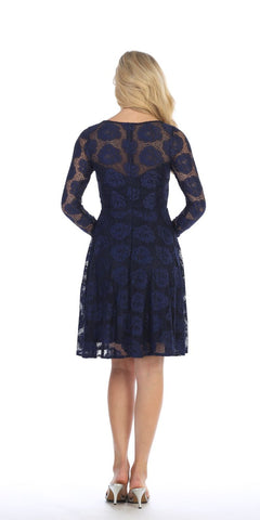 Celavie 6327 Scoop Neckline Long Sleeve A-Line Wedding Guest Short Dress Navy Blue Back View