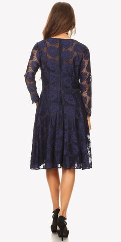 Scoop Neckline Long Sleeve A-Line Wedding Guest Short Dress Navy Blue