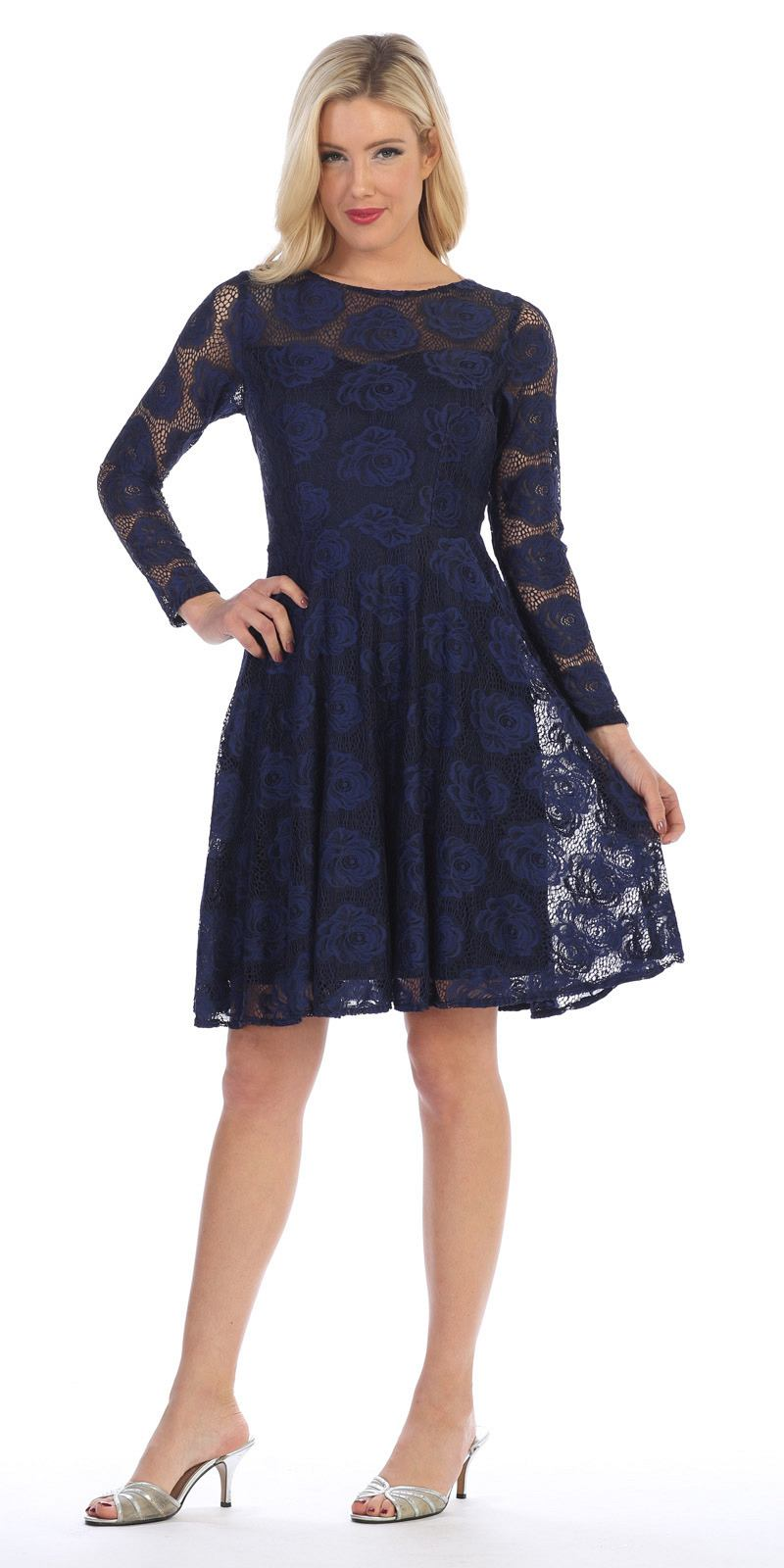 Scoop Neckline Long Sleeve A Line Wedding Guest Short Dress Navy Blue