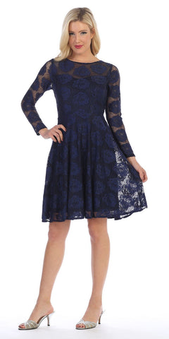 Celavie 6327 Scoop Neckline Long Sleeve A-Line Wedding Guest Short Dress Navy Blue