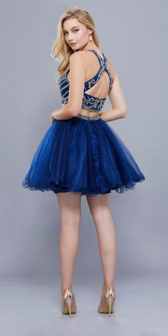 Cut Out Back Two Piece Short Prom Dress Beaded Crop Top Navy Blue