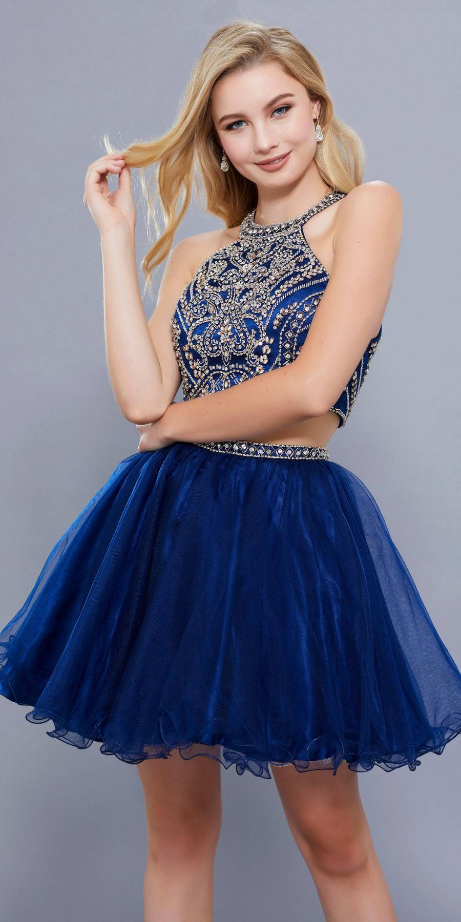 a5ca8cfc45ee Cut Out Back Two Piece Short Prom Dress Beaded Crop Top Navy Blue. Tap to  expand