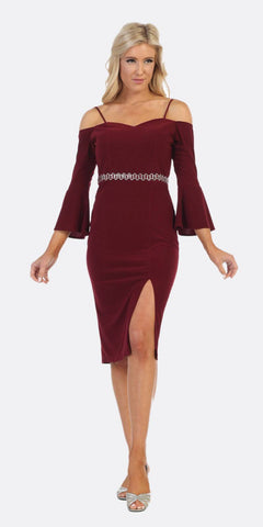 Knee Length Off Shoulder Cocktail Dress with Slit Burgundy