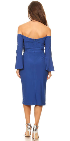 Knee Length Off Shoulder Cocktail Dress with Slit Royal Blue