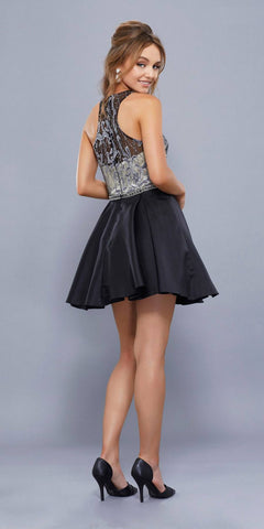 Black-Nude Illusion Halter Beaded Top Homecoming Short Dress