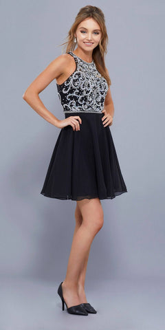 Sleeveless Beaded Bodice Chiffon Halter Short Prom Dress Black