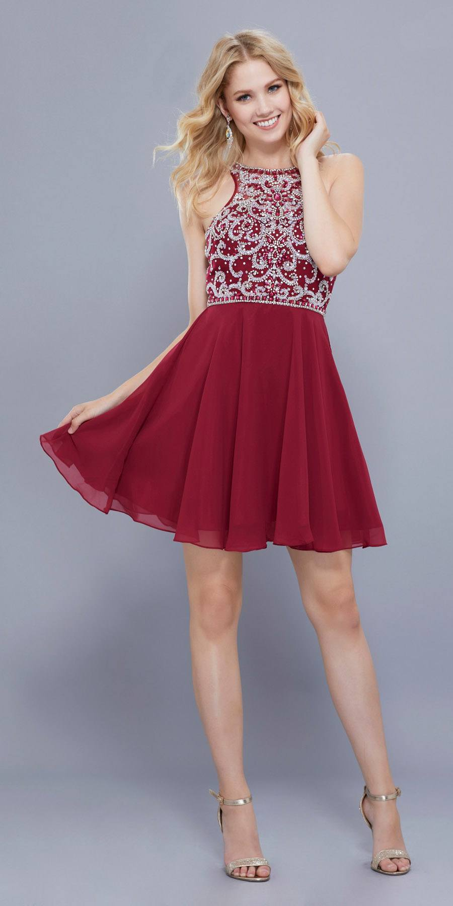 Sleeveless Beaded Bodice Chiffon Halter Short Prom Dress Burgundy ...