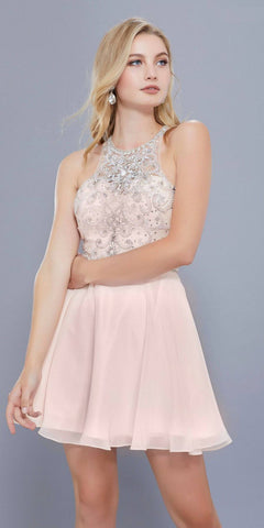 Sleeveless Beaded Bodice Chiffon Halter Short Prom Dress Nude