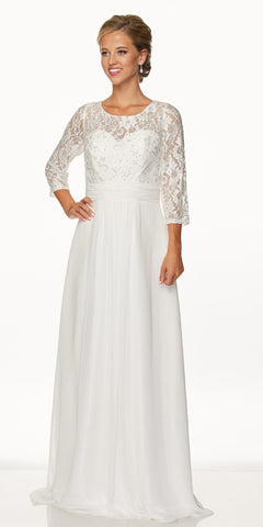 Juliet 633 Lace Off White Floor Length Formal Dress Illusion Neckline