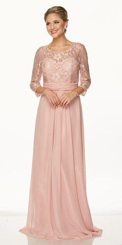 Juliet 633 Lace Rose Floor Length Formal Dress Illusion Neckline