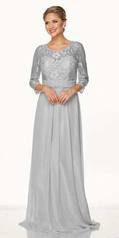 Juliet 633 Lace Silver Floor Length Formal Dress Illusion Neckline