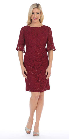Short Wedding Guest Dress with Three-Quarter Sleeves Burgundy