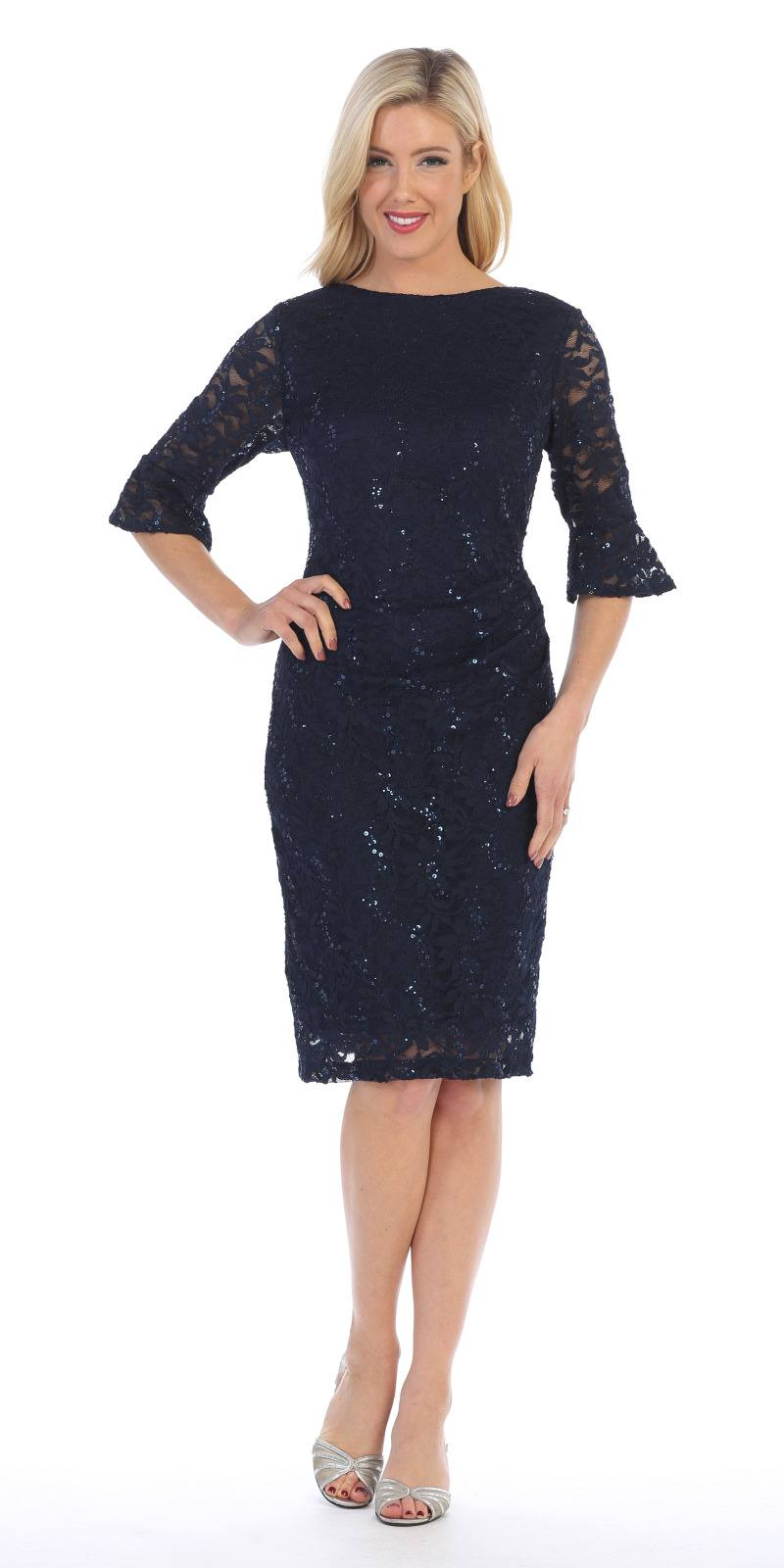 Short Wedding Guest Dress With Three Quarter Sleeves Navy Blue