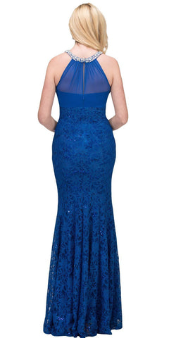 Royal Blue Mermaid Long Formal Dress Beaded Neckline Back View
