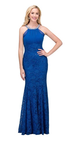 Royal Blue Mermaid Long Formal Dress Beaded Neckline