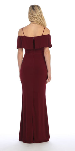 Celavie 6332 Burgundy Floor Length Evening Gown Off Shoulder Back View