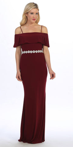 Celavie 6332 Burgundy Floor Length Evening Gown Off Shoulder