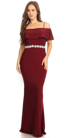 Burgundy Floor Length Evening Gown Off Shoulder