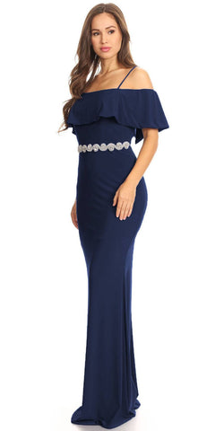 Navy Blue Floor Length Evening Gown Off Shoulder