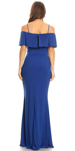 Royal Blue Floor Length Evening Gown Off Shoulder