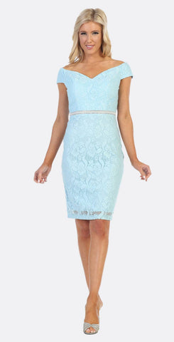 Celavie 6333S Baby Blue Off-the-Shoulder Cocktail Dress Embellished Waist