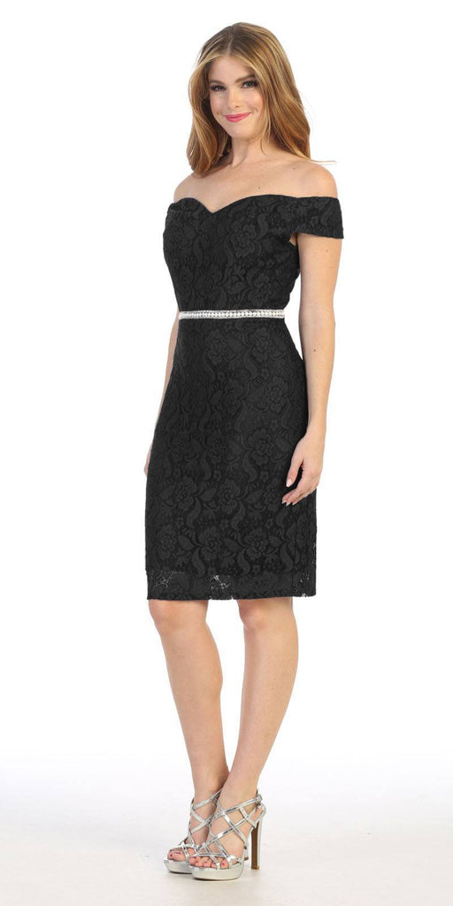 Celavie 6333S Black Off-the-Shoulder Cocktail Dress Embellished Waist