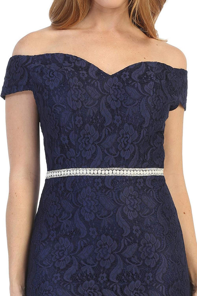 Celavie 6333S Navy Blue Off-the-Shoulder Cocktail Dress Embellished Waist