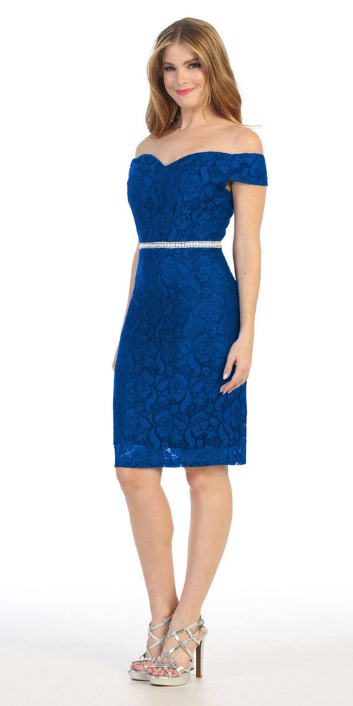 Celavie 6333S Royal Blue Off-the-Shoulder Cocktail Dress Embellished Waist