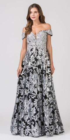 Sequins Black/Silver Long Prom Dress Off-Shoulder